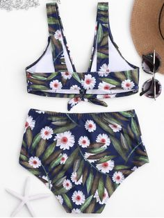 AD : Daisy Print High Waisted Bikini Set - FLORAL S     Vibrant daisy print bathing suit features pullover style plunge front bralette bikini top and high rise swim bottoms, padded.  Swimwear Type: Bikini   Gender: For Women   Material: Nylon,Polyester,Spandex   Bra Style: Padded   Support Type: Wire Free   Collar-line: Plunging Collar   Pattern Type: Floral   Waist: High Waisted   Elasticity: Elastic   Weight: 0.2000kg   Package: 1 x Top 1 x Bottoms