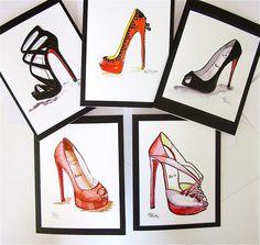 FASHION ILLUSTRATION  Louboutin shoe notecards by KIMPETERSONART, $12.00