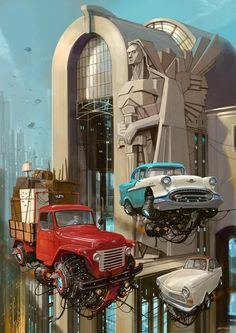 Retro Future Flying Car by Alejandro Burdisio