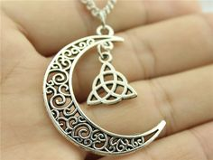 Crescent Moon necklace with Triquetra Symbol