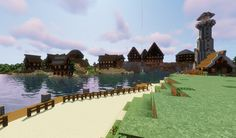 minecraft village by the sea made in survival Minecraft 1, Minecraft Designs, Dolores Park, Survival, Sea, Travel, Viajes, The Ocean, Destinations