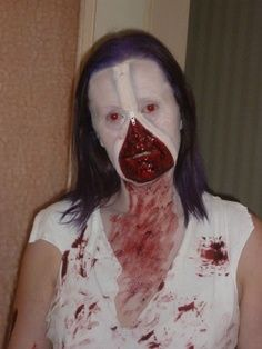 Scary Halloween costume and makeup! Scary Halloween Costumes, Diy Halloween Decorations, Halloween Masks, Holidays Halloween, Halloween Make Up, Halloween Face Makeup, Halloween Ideas, Zipper Face, Scary Makeup