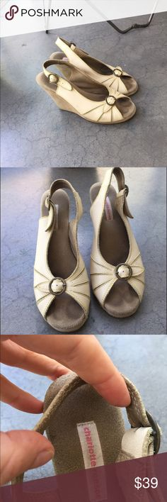 Charlotte Ronson white wedges, sz 7.5 Super comfy Charlotte Ronson white wedges - wish I could still fit these!! Sz 7.5 women's, used condition. Charlotte Ronson Shoes Wedges