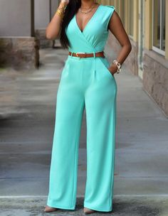Sky Blue Sleeveless Casual Jumpsuit Long Pants Rompers For Women - FADCOVER