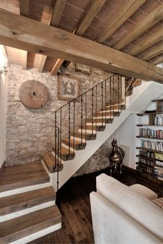 Basement Flooring Ideas - Choosing the right flooring has different rules in a b. - Basement flooring - Basement Flooring Ideas – Choosing the right flooring has different rules in a basement than it d - Home, House Styles, Rustic House, House Design, Farmhouse Living, Interior, New Homes, Rustic Stairs, House Interior