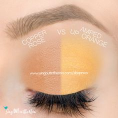 Amped Up Orange and Copper Rose ShadowSense side by side comparison.  These long-lasting SeneGence eyeshadows help create envious eye looks.  #eyeshadow #shadowsense