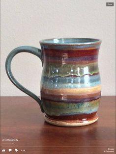 brushed underglazes. layered, glazed rim, glazed middle stripe and lower stripe.