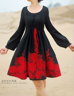 flare-skirt dress - Sally's celtic knotwork idea, in bright on black, would work well on this.