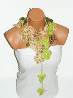 Crochet colorful  Flower Lariat Scarf Fashion by WomanStyleStore, $25.00