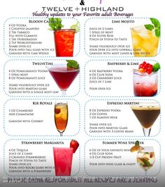 Tone It Up Karena Katrina shares healthy updates to favorite cocktails. Great ideas here! Bar Drinks, Cocktail Drinks, Cocktail Recipes, Wine Cocktails, Tone It Up, Healthy Cocktails, Low Calorie Alcoholic Drinks, Alcoholic Beverages, Alcohol Drink Recipes