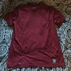 """Nike Pro Combat Tshirt Burgundy color Nike pro combat dri fit shirt, basically new, & is """"fitted"""" Nike Tops"""