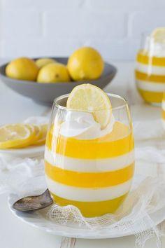 Layered Lemon Jello Cups #lemon #jello #dessert