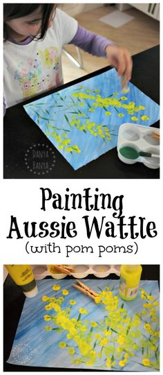Painting Aussie Wattle (with pom poms). Fun kids activity for Australia Day, or just to learn about our native Australian flora