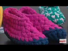 Como hacer unas pantuflas en crochet con trapillo- Hogar Tv por Juan Gonzalo Angel - YouTube