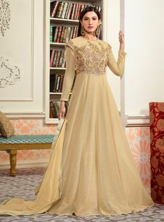 Plus Size Gauhar Khan Beige Suit Anarkali Long Gown With Dupatta And Bottom. Fabric - Banarasi Silk Work - Diamond Work Top Length Around inches. Indian Dresses, Indian Outfits, Eid Dresses, Indian Clothes, Latest Indian Fashion Trends, Latest Anarkali Suits, Gown Suit, Anarkali Gown, Lehenga