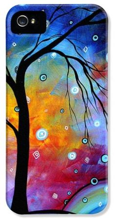 Iphone Cases - WINTER SPARKLE Original MADART Painting iPhone Case by Megan Duncanson  #iphonecase #art #colorful  all rights reserved, copyright prtected ` Megan Duncanson