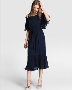 Vestido midi de mujer Tintoretto con volantes plisados