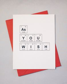 as you wish periodic table of the elements i love you card geeky anniversary card