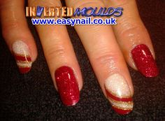 Red, Iridescent White and Gold Glitter Inverted Moulds by Cheryl Hammond. Red Nails, Hair And Nails, Nail Tutorials, Winter Nails, Cheryl, Gold Glitter, Trip Planning, Iridescent, Acrylic Nails