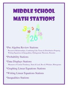 This 76 page packet includes 6 stations for the middle school math classroom. Some high school classrooms could utilize it as well. The stations ar...