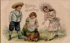Vintage Easter Children Hen & Chicks Greetings Postcard Card Victorian #Easter