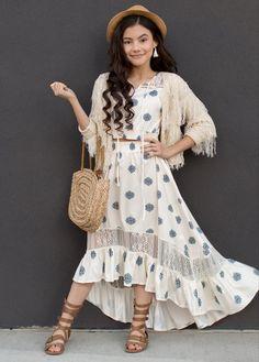 Yesenia Set in Blue Geo Print – Joyfolie Petite Outfits, Boho Outfits, Skirt Outfits, Stylish Dresses, Cute Dresses, Fashion Dresses, Modest Skirts, High Low Skirt, Islamic Fashion