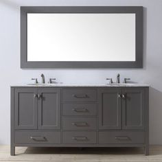 Stufurhome Malibu 72 in. Double Sink Bathroom Vanity - GM-6412-72GY-CR
