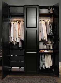 Ikea built in wardrobes bedroom closets closet storage ideas large size of wardrobe build a walk Bedroom Wardrobe, Wardrobe Closet, Master Closet, Closet Space, Home Bedroom, Bedroom Closets, Black Wardrobe, Ikea Pax Closet, Closet Storage