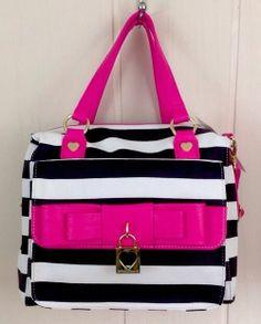 NWT Betsey Johnson Lady Bow Satchel Handbag Bone & Black W Fuchsia Bow $98.00