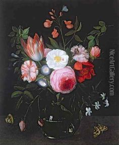 Spring Flowers in a glass vase by Jan van Kessel