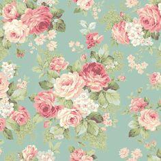 *** RURU Rose for You - Rose Bouquet Duck Egg Blue-Ruru, rose, bouquet, floral, quiltgate, script, frame, panel