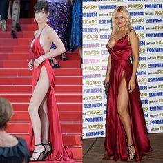 Vera Atyushkina mostrou mais do que devia ao cruzar red carpet com vestido revelador vermelho