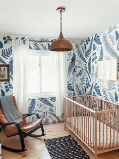 Scandinavian Inspired Nursery with Ash Wallpaper