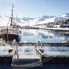 #northiceland is renowned for its scenic beauty and epic winter landscapes. This is Siglufjörður, where you'll find this lovely geothermal…