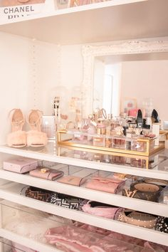 Pink Walk in Closet & Beauty Room Reveal My New Room, My Room, Room Ideas Bedroom, Bedroom Decor, Cube Storage Shelves, Glam Room, Gold Pillows, Walk In Closet, Glam Closet