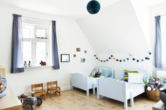We love this Copenhagen kids room in a swish yellow house in Valby here at Kid & Coe...it's called the Steenbergsvej Residence and it's open for booking now...