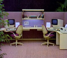 Office Computers, Velvet Chairs, 1980  why does this look like a tiny dollhouse version of an office cubicle?