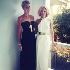 Sass & Bide designers Sarah-Jane Clarke and Heidi Middleton showing off two black and white gowns from their latest collection.  Come grab some styling tips from Heidi herself on the 18th of April in store at James St!