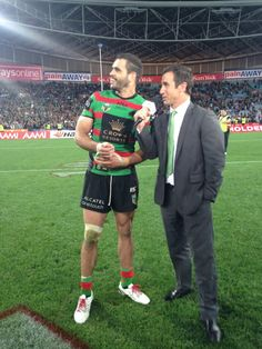 Greg Inglis and Andrew Johns 2014   MadAussie.com Australian Rugby League, League Legends, Put On, Rabbits, Role Models, Superstar, Christmas Sweaters, Sports, Fashion