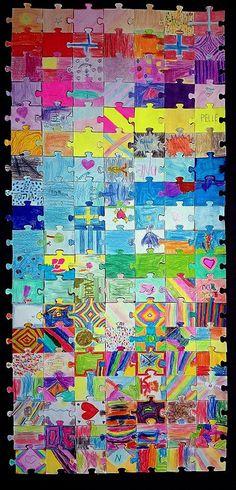 Kvar elev skal laga sin eigen puslespelbit. Skriv ut puslespelbitar på litt tjukkare papir. Bitane er ca 5x8 cm. Lim på svart kartong.