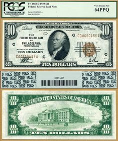 Ten Dollars Federal Reserve Notes for sale online Ellensburg Washington, Federal Reserve Note, Rare Coins Worth Money, Valuable Coins, Money Notes, Coin Dealers, Coin Auctions, Silver Certificate, New Fathers