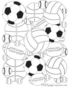 FREE printables! Colouring Pages for Adults and Kids. Sport Balls. Baseball, basketbal, football, soccer, and tennis. The Flying Couponer | Family. Lifestyle. Saving Money.