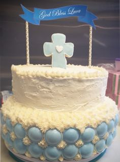 Boy Baptism Two Tier Cake