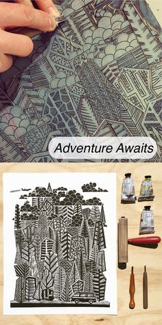 "Original Adventure Awaits Linocut Print. A 16""x20"" outdoorsy art print featuring a campervan heading off on adventure. By Boarding All Rows."