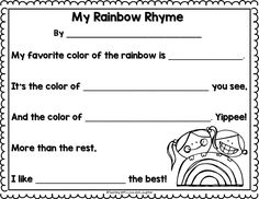 FREE Rainbow Rhyme writing template for St. Patrick's Day!