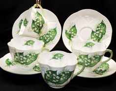 Shelley Dainty SET of 4 Lily of the Valley Tea cup and saucer   eBay