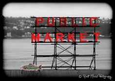 Pike Place Market 8x10 Fine Art Print Red Black and White Vintage Seattle Wall Home Decor: HOME