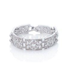 Bridal Deco Crystal Link Bracelet  by Kenneth Jay Lane   Thomas Laine