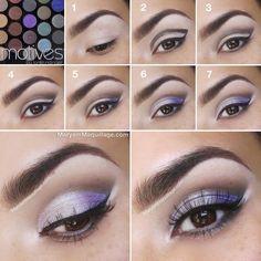Jak powiększyć oko perłowym i fioletowym cieniem, krok po kroku.