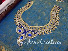 Best Bridal Blouse Designs in Chennai Handmade Embroidery Designs, Peacock Embroidery Designs, Hand Embroidery Design Patterns, Aari Embroidery, Hand Work Blouse Design, Simple Blouse Designs, Dress Neck Designs, Bridal Blouse Designs, Peacock Blouse Designs
